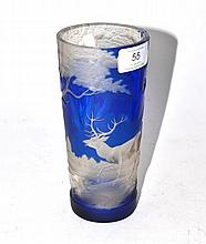 A Bohemian Blue Overlay Clear Glass Beaker, mid