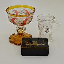 A Bohemian Glass Mug, mid 19th century, the