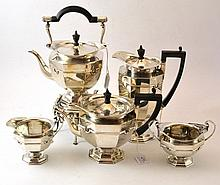 A Composite Silver Five Piece Tea Service, Roberts
