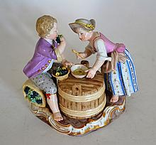 A Meissen Porcelain Figure Group of Vine