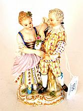 A Meissen Porcelain Figure Group of Dancers, late