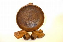 A Colin ''Beaverman'' Almack Oak Fruit Bowl, with