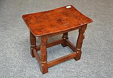 A Robert ''Mouseman'' Thompson Oak Dish Top Stool,