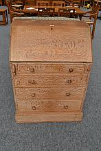 An Art Deco Heal's Limed Oak Bureau, the fall