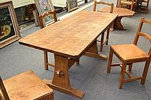 A Kingpost Woodwork Oak Refectory Table, on two