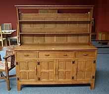 A Kingpost Woodwork Oak Dresser, the plate rack