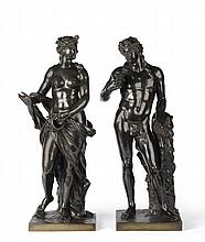 A Pair of Bronze Figures of Dionysus and Ariadne,