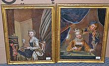 A Pair of Reverse Paintings on Glass, French, 18th