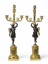 A Pair of French Restauration Three-Light Figural