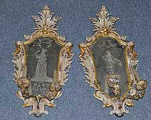 A Pair of Venetian Engraved Glass and Maiolica