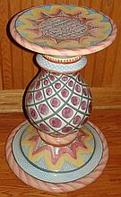 MacKenzie-Childs Ceramic  Thistle Pedestal Table