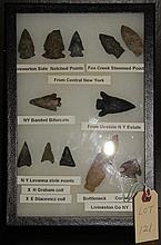 Wide variety arrowheads made w/ exotic flints NYS