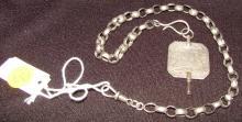 Swedish Antique Silver Watch Chain & Key Fob