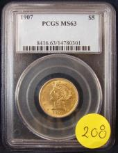 1907 $5 US Gold Liberty Head PCGS MS63