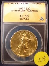 1907 VERY RARE $20 US Gold High Relief w/Wire Rims