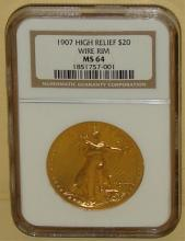 1907 VERY RARE $20 US Gold High Relief