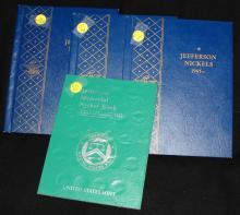 4 Jefferson Nickel books: 1938-1989 partially fild
