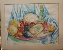Signed illegibly. Watercolor Still Life of Fruit & Wine