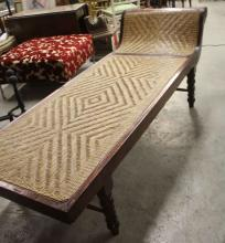 Antique Wicker & Wood Chinese Day Bed