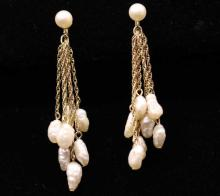 Pair Vintage Gold & Seed Pearl Earrings