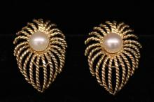 Pair Vintage Tear Drop Shaped Pearl Earrings