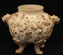 Antique Avalon Faience Lion Handle Urn