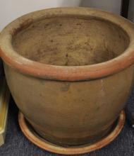 Contemporary Glazed Clay Garden Pot