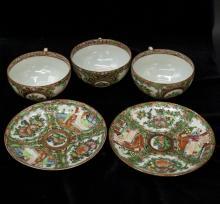 Set Of Chinese Guang Cai Porcelain Tea Bowls