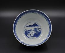 Chinese Qing Export White and Blue Porcelain Plate