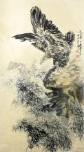 Chinese Huang Zuo Eagle Painting 1987