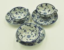 Three Republic Period Blue and White Tea Sets