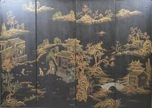 Four Panel Chinese Republic Gilt Lacquer Screen
