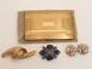 Elgin Cigarette Case & Costume Jewelry Brooches