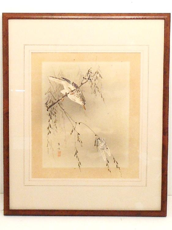 Woodblock Print Rioko Bird Hunting Cicada