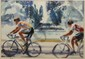 Watercolor Del Noce Bicycle Racers