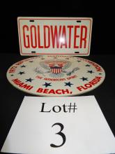 Goldwater License Plate/1972 Nt'l Convention