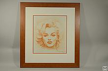Original Red Chalk - Portrait of Marilyn Monroe