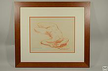 Original Red Chalk Drawing - Reclined Nude Figure