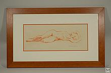 Signed Maria Gabankova Red Chalk Drawing: Nude