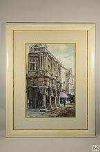 ALFRED LEYMAN Signed Watercolor - Street Scene
