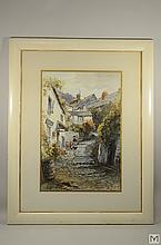 ALFRED LEYMAN Signed Watercolor - Cottage Scene