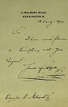 British Painter LUKE FILDES - Autograph Ltr Signed