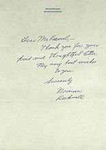 Painter NORMAN ROCKWELL - Autograph Ltr Signed