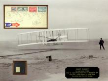 ORVILLE WRIGHT - Postal Cvr Framed with Plane Relic