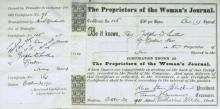 Suffragist LUCY STONE BLACKWELL - Stock Cert Signed