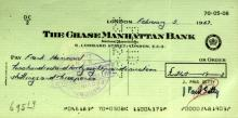 Oilman J PAUL GETTY - Check Signed