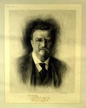 26th Pres THEODORE ROOSEVELT - Etching Signed, Framed