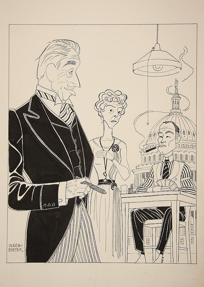 CARICATURE - George Wachsteter (1911-2004) Ink on Cardstock Caricature for 1959 Broadway Play 'The Gang's All Here', starring Melvyn Douglas, Jean Dixon & E.G. Marshall, 13 1/4