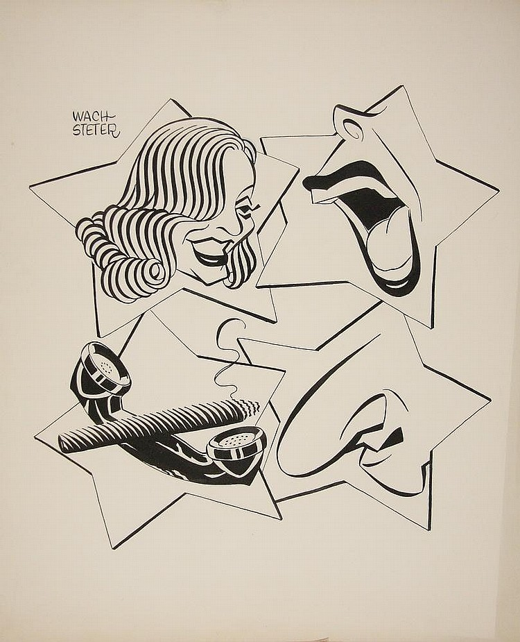 CARICATURE - George Wachsteter (1911-2004) Ink on Illustration Board for 1952-53 broadcast season of the 'All-Star Revue', NBC-TV's Saturday night variety showcase, 10 1/2