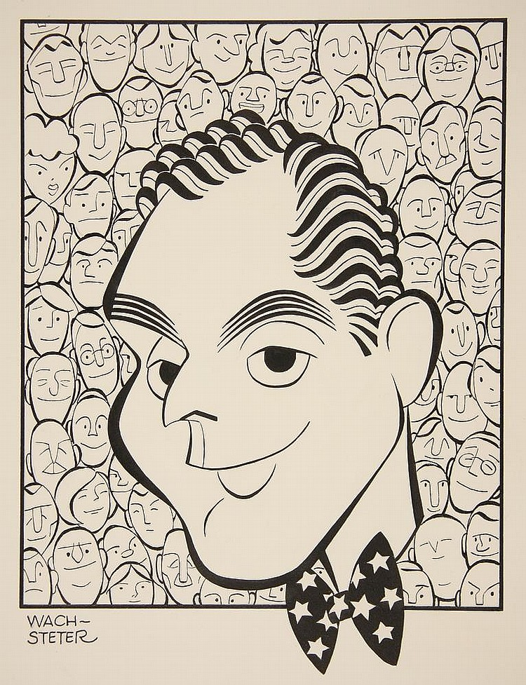 CARICATURE - George Wachsteter (1911-2004) Ink on Illustration Board of NBC-TV Host Dan Seymour, for Sept 1951 'We the People', depicted in front of a mass of faces, 10 1/2